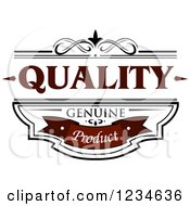 Clipart Of A Brown Quality Geniune Product Label Royalty Free Vector Illustration