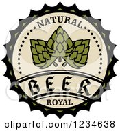 Clipart Of A Beige And Green Natural Royal Beer Hops Label Royalty Free Vector Illustration by Vector Tradition SM