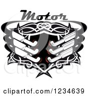 Clipart Of A Motor Text Over A Black Shield With Tribal Designs And Mufflers Royalty Free Vector Illustration