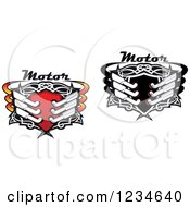 Clipart Of Motor Text Over Shields With Tribal Designs And Mufflers Royalty Free Vector Illustration by Vector Tradition SM