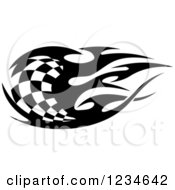 Clipart Of A Black And White Flaming Checkered Racing Flag 3 Royalty Free Vector Illustration