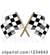 Clipart Of Crossed Checkered Racing Flags Royalty Free Vector Illustration