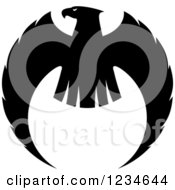 Clipart Of A Black And White Eagle Falcon Or Hawk Royalty Free Vector Illustration