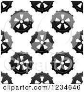 Clipart Of A Seamless Background Pattern Of Gears 3 Royalty Free Vector Illustration