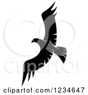Clipart Of A Black And White Eagle Falcon Or Hawk Flying Royalty Free Vector Illustration