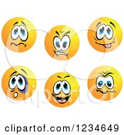 Clipart Of Worried Mean And Goofy Emoticon Faces Royalty Free Vector Illustration by Vector Tradition SM