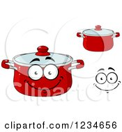 Clipart Of A Happy Red Dutch Oven Pot Character Royalty Free Vector Illustration