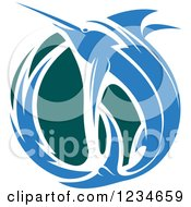 Clipart Of A Leaping Blue Marlin Fish And Teal Wave 2 Royalty Free Vector Illustration
