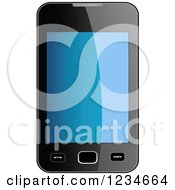 Clipart Of A 3d Smart Phone With A Reflective Screen Royalty Free Vector Illustration