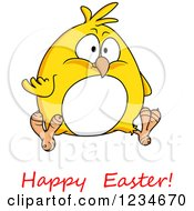 Clipart Of A Chubby Yellow Chick And Happy Easter Text Royalty Free Vector Illustration by Vector Tradition SM