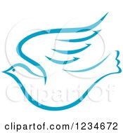 Clipart Of A Flying Light Blue Dove Royalty Free Vector Illustration by Vector Tradition SM