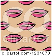 Clipart Of A Seamless Pink Lips Background Pattern Royalty Free Vector Illustration by Vector Tradition SM