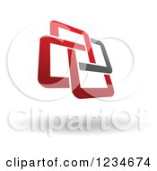 Clipart Of A Red And Gray Windmill And Shadow Royalty Free Vector Illustration