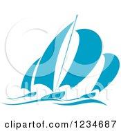 Clipart Of Blue Regatta Sailboats 9 Royalty Free Vector Illustration