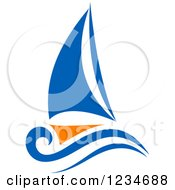 Clipart Of A Blue And Orange Sailboat 4 Royalty Free Vector Illustration by Vector Tradition SM