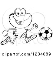 Clipart Of A Black And White Frog Character Playing Soccer Royalty Free Vector Illustration