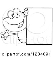 Clipart Of A Black And White Frog Character Waving Around A Blank Sign Royalty Free Vector Illustration