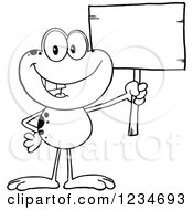 Clipart Of A Black And White Frog Character Holding Up A Blank Sign Royalty Free Vector Illustration