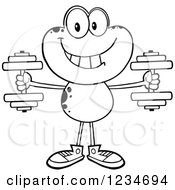 Clipart Of A Black And White Frog Character Working Out With Dumbbells Royalty Free Vector Illustration