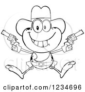 Clipart Of A Black And White Cowboy Frog Character Shooting Pistols Royalty Free Vector Illustration