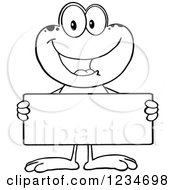 Clipart Of A Black And White Frog Character Holding A Blank Sign Royalty Free Vector Illustration