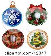 Clay Sculpture Clipart Christmas Ornament Wreath Cake And Cookie Royalty Free 3d Illustration