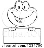 Clipart Of A Black And White Frog Character Smiling Over A Blank Sign Royalty Free Vector Illustration
