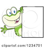 Frog Character Waving Around A Blank Sign by Hit Toon