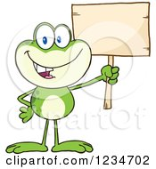 Frog Character Holding Up A Blank Sign by Hit Toon