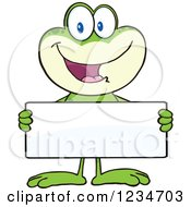 Frog Character Holding A Blank Sign by Hit Toon