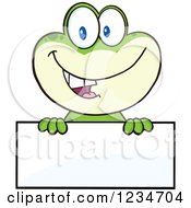 Frog Character Smiling Over A Blank Sign