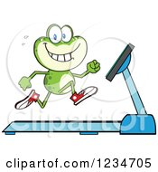 Clipart Of A Frog Character Running On A Treadmill Royalty Free Vector Illustration by Hit Toon