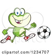 Frog Character Playing Soccer by Hit Toon