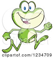 Clipart Of A Frog Character Running Royalty Free Vector Illustration by Hit Toon
