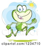 Clipart Of A Frog Character Running On A Sunny Day Royalty Free Vector Illustration