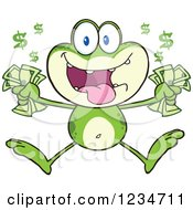Clipart Of A Rich Frog Character Jumping With Cash Money Royalty Free Vector Illustration by Hit Toon