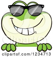 Frog Character Wearing Sunglasses And Smiling Over A Sign