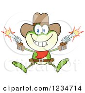 Clipart Of A Jumping Cowboy Frog Character Shooting Pistols Royalty Free Vector Illustration by Hit Toon