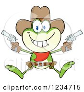 Clipart Of A Cowboy Frog Character Shooting Pistols Royalty Free Vector Illustration by Hit Toon