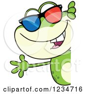 Frog Character Wearing 3d Glasses And Waving Around A Sign