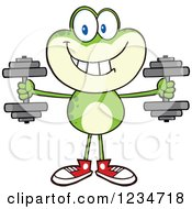 Frog Character Working Out With Dumbbells