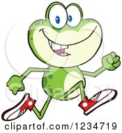 Clipart Of A Frog Character Running In Sneakers Royalty Free Vector Illustration by Hit Toon #COLLC1234719-0037