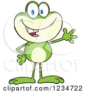 Clipart Of A Presenting Frog Character Royalty Free Vector Illustration by Hit Toon