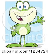 Presenting Frog Character Over Blue