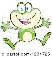 Clipart Of A Happy Frog Character Jumping Royalty Free Vector Illustration