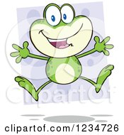 Happy Frog Character Jumping Over Purple