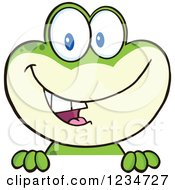 Frog Character Smiling Over A Sign