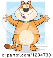Clipart Of A Mamalade Tabby Cat Standing With Open Arms Royalty Free Vector Illustration