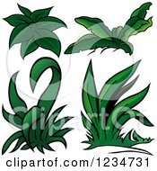Clipart Of Green Plants Royalty Free Vector Illustration by dero