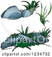 Clipart Of Green Plants And Boulders Royalty Free Vector Illustration by dero